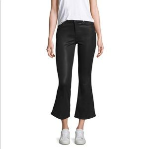 7 for all Mankind Black Leather Crop Flare Jeans